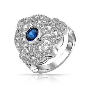 Boho Blue CZ Filigree Heart Armor Full Finger Ring